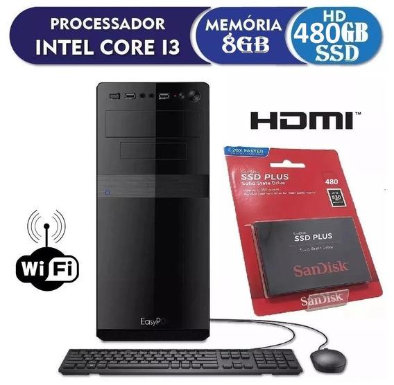 Pc Cpu Intel Core I3 + 8gb Ram + Hd480gb Ssd + Dvdrw + Wi Fi