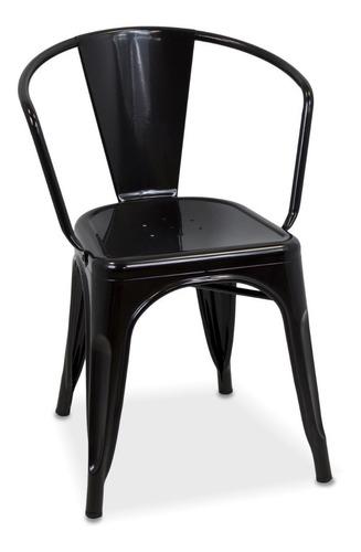 Silla Tolix Con Apoyabrazo Color Negra Reforzada Tipo Sillon