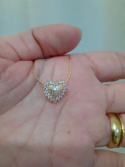 Colar Gargantilha Coração Folheado Ouro Zirconias Cristal