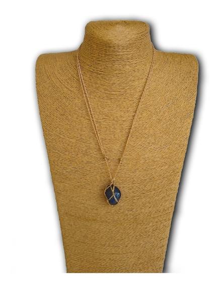 Colar De Pedra Natural Ágata Azul Ref: 7880