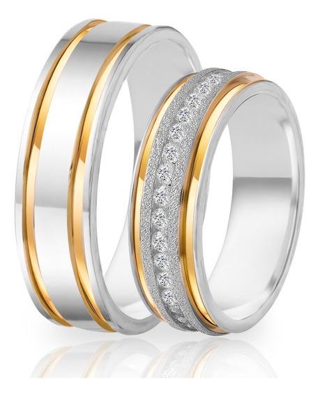 Alianças De Namoro Prata 950 Polida Com Ouro 6.0 Mm