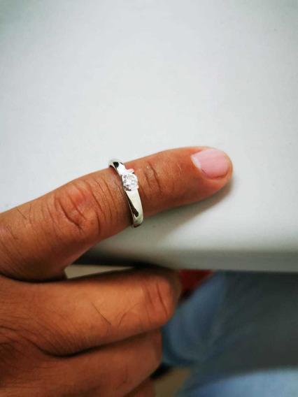 Anillo De Compromiso Oro Blanco De 14k Con Diamante 15puntos
