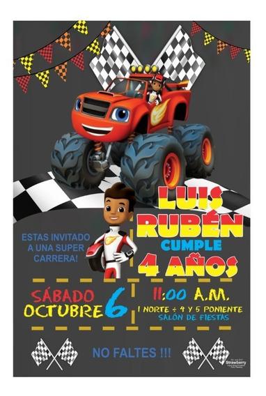 Invitacion Tipo Pizarron Blaze And The Monster Machines 01
