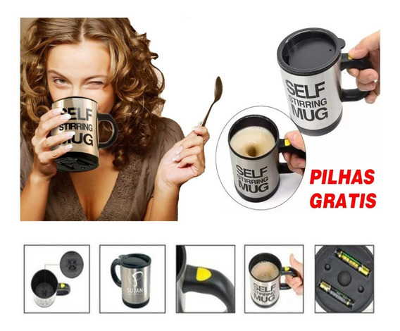 Caneca Elétrica Inox Mixer Shake Café Misturador 400ml