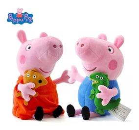 Kit Bonecos De Pelúcia Da Peppa Pig E George