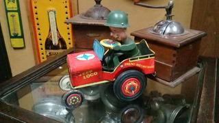 Antiguo Juguete De Chapa Jeep Loco Vispa