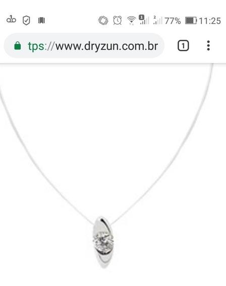 Colar Dryzun Ponto Luz Ouro Branco. Diamante 20 P