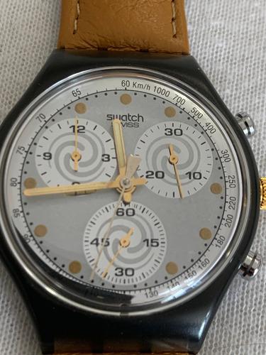 Relogio Swatch Scm101. Cronografico. Ano 1992, Sem Uso.couro