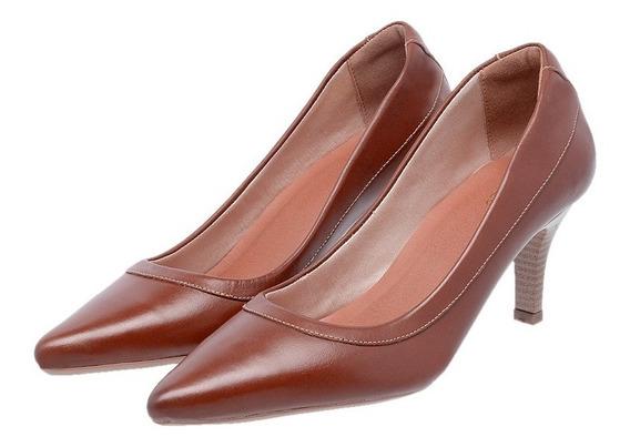 Sapato Feminino Scarpin Mz Salto Couro Ref 3803 Frete Gratis