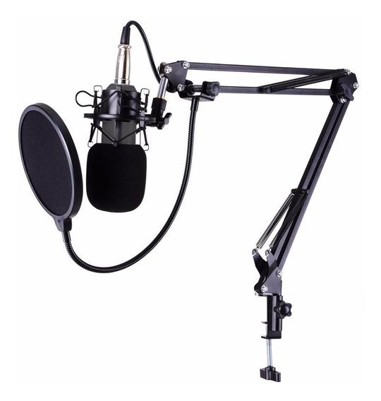 Microfone Condensado + Pop Filter + Aranha + Braço Articular