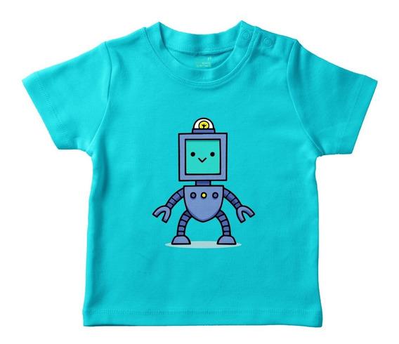 Playera Turquesa Bebé Robot M/c Varias Tallas Plash Oferta