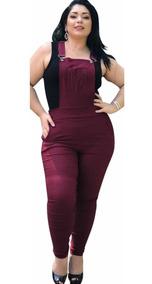 009e5465a Macacão Feminino Longo Jeans - Macacão para Feminino Bordô com o ...