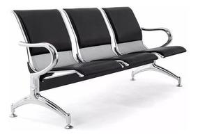 Cadeira Longarina Aeroporto Cromada C Estofamento 3 Lugares