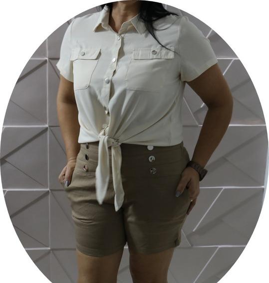 Bermud Feminino Com Botao E Bolso Zipper Pluz Size G1 Ao G4