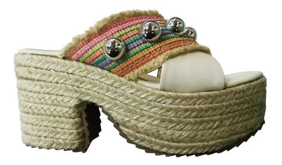 Zapatos Sandalias Cuero Mujer Beige Taco Urbanas Leblu 905