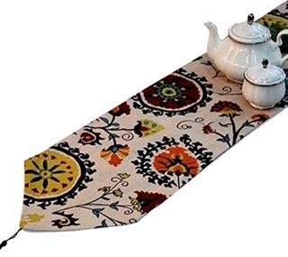 Yoovi Cotton And Linen Blend Reversible Table Runner Ethnic