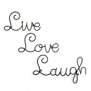Live Love Laugh Set 3 Wall Mount Metal Wall Escultura Palabr