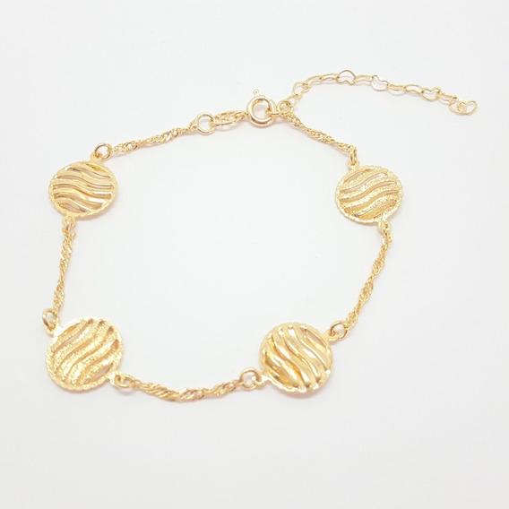 Pulseira Dourada Circulo Diamantado