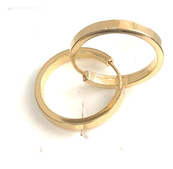 Brinco Argola Ouro 18k Feminino Grosso 2mm 1,8 Cm C/ Nf