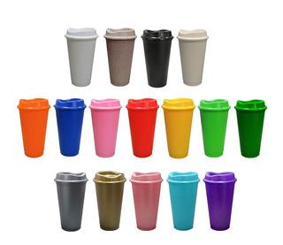Vaso Cafetero Plástico 16 Oz 473 Mls Con Tapa