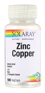 Zinco Quelado/cobre Quelado Solaray 100 Caps Original Usa