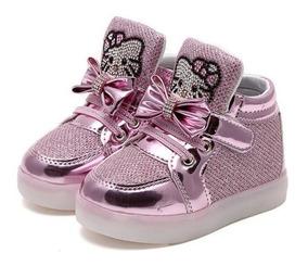 Tênis Led Menina Infantil Bebe Importado Luxo Hello Kitty