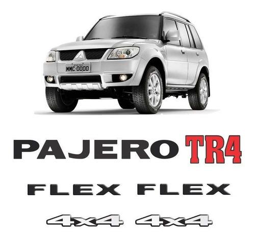 Imagem 1 de 6 de Kit Emblemas Pajero Tr4 Flex 4x4 Preto Adesivos Resinados