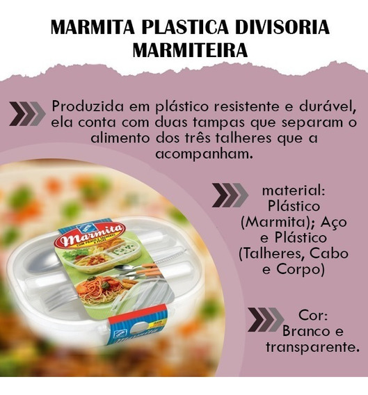Kit C/5 Pote Marmita Plastica Divisoria Marmiteira Tampa
