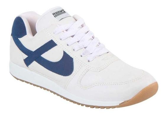 Tenis Panam Clasico Original Comodo Blanco Azul Sneakers Ret
