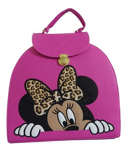 Imagen 1 de 8 de Bonita Bolsa-mochila De Dama, Personaje De Disney, En Fiusha