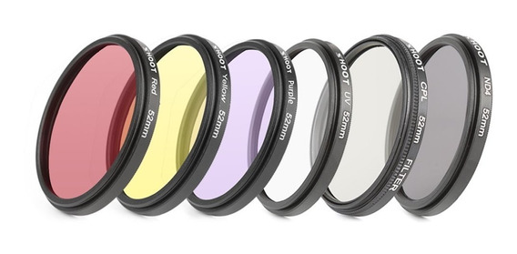 Kit 6 Lentes Filtro Gopro Hero 3/4 52mm Uv Cores