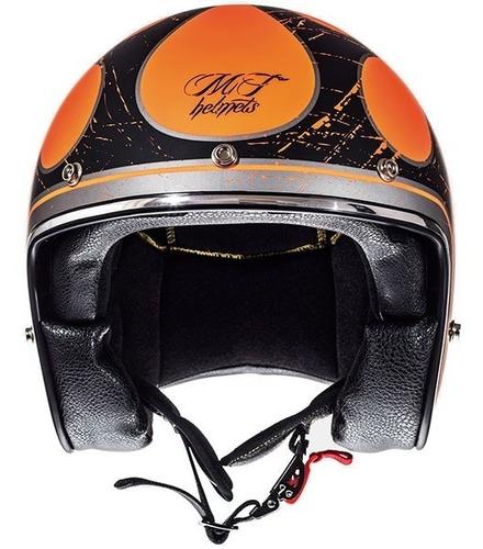 Casco Mt Helmets Le Mans Flaming Mate Fluor Naranja Y Negro