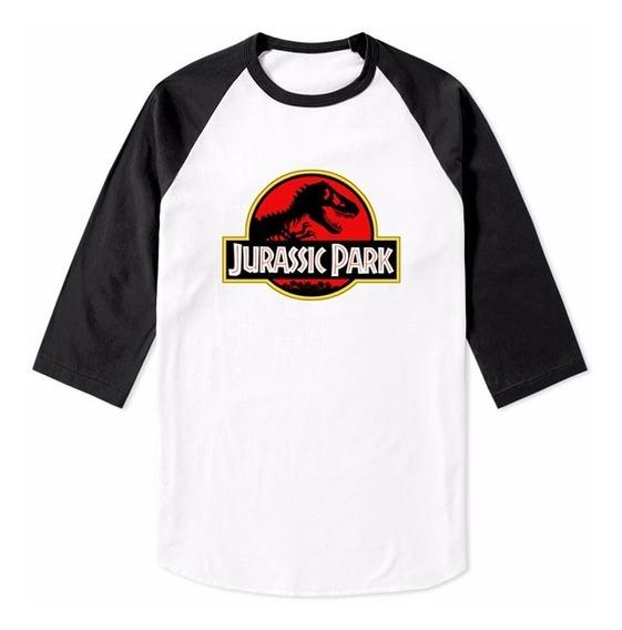 Playera Raglan Jurassic Park Manga 3/4 Mundo Jurasico