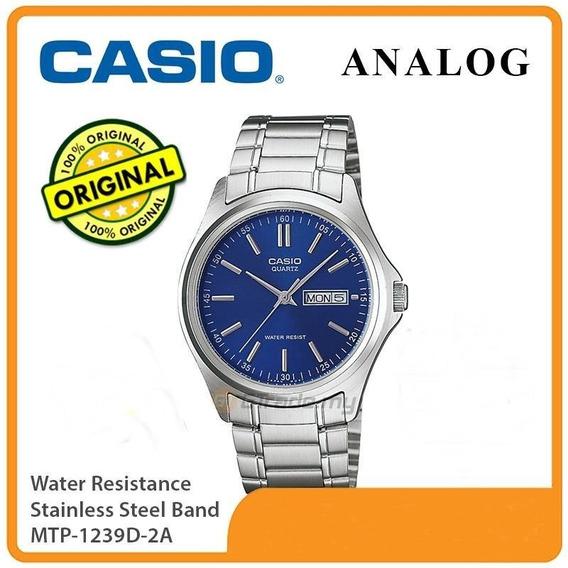 Relogio Casio Mtp-1239d-2a Fundo Azul Único No Mercado Livre