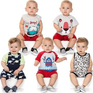Roupa Bebê Menino Kit 3 Conjuntos 2 Macaquinhos Curto Verão