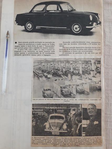 Recorte Jornal Matéria Reportagem Vw 1500 Milionésimo Fusca