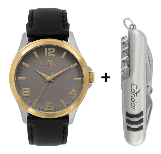 Relógio Condor Masculino Couro Bicolor +brinde Co2035mpj/k5c