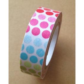 Washi Tape Fita Decorativa Bolinhas Coloridas
