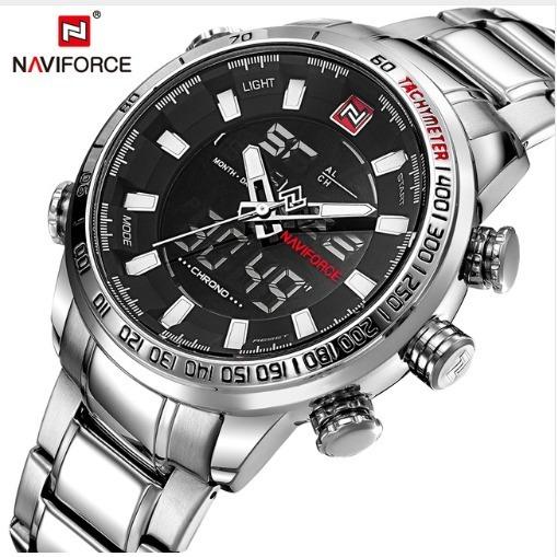 Relógio Naviforce 9093 Prata Original Pesado Grande