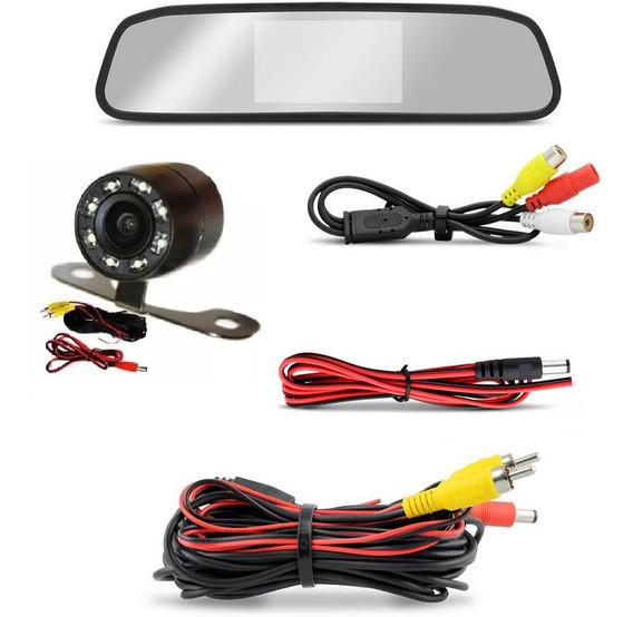 Espelho Retrovisor C/ Display 4,3 + Câmera Ré Infra Vermelho