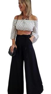 Calça Pantalona Molinha Social Elastico Passador Cinto