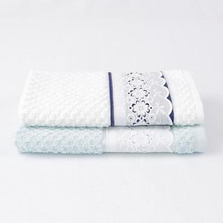 Kit 2 Toalhas Lavabo Branca E Azul Com Renda Floral Clássica