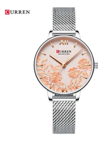 Relógio Curren Feminino Resistente À Água Detalhes De Flores
