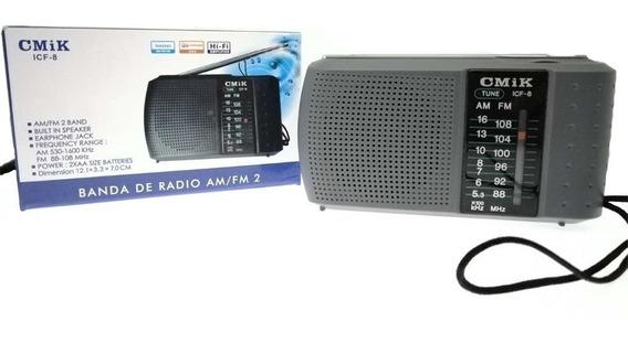 Rádio Mini Portátil Am Fm Alto Falante Interno Icf-8 Cmik