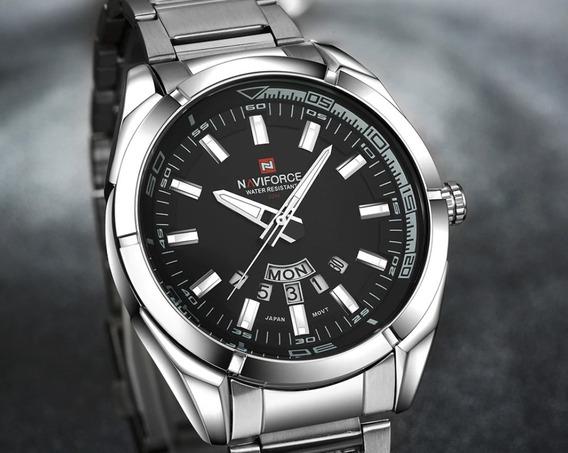 Relógio De Aço Masculino Original Naviforce Modelo Silver Série Luxo