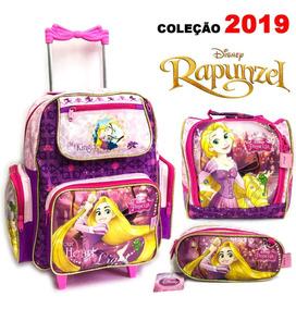 Kit 3 Pçs Mochila Rodinha Infantil Princesa Rapunzel 2019