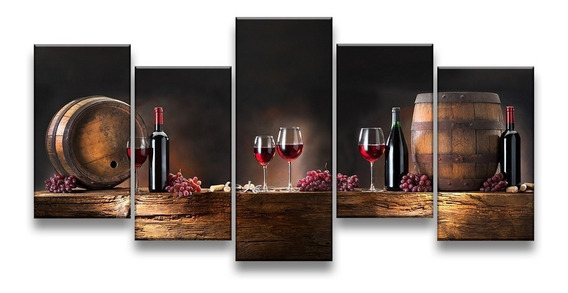 Quadro Decorativo 129x63 Sala Cozinha Gourmet Vinho Wine Kit