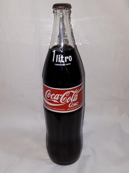 Coca Cola Botella 1 Lt. Vidrio Antigua `80 Tapa Fútbol C100