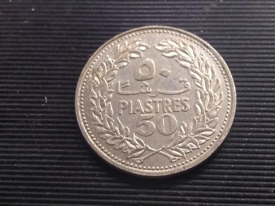Moneda Líbano 50 Piastras, 1969 Níquel Km# 28 Lote 3019