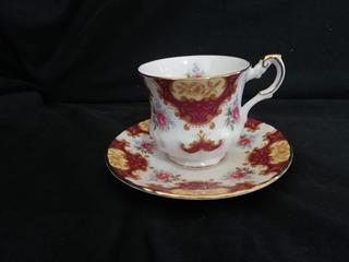 Xícara E Pires De Café Rosina China Queens Bordô